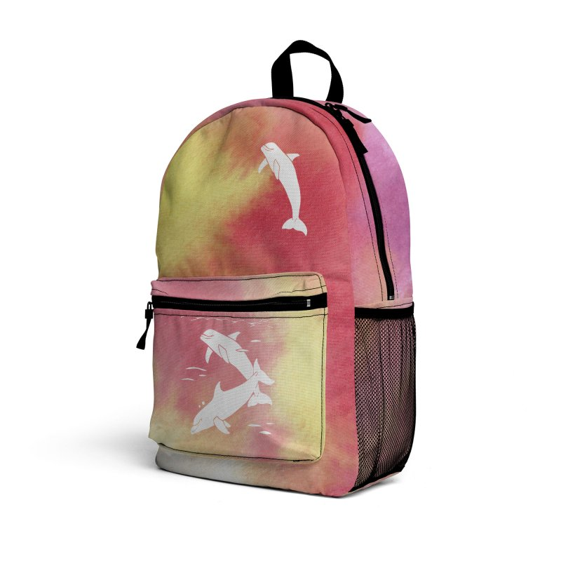 Peach Sea Dolphins Accessories Bag by Ferine Fire