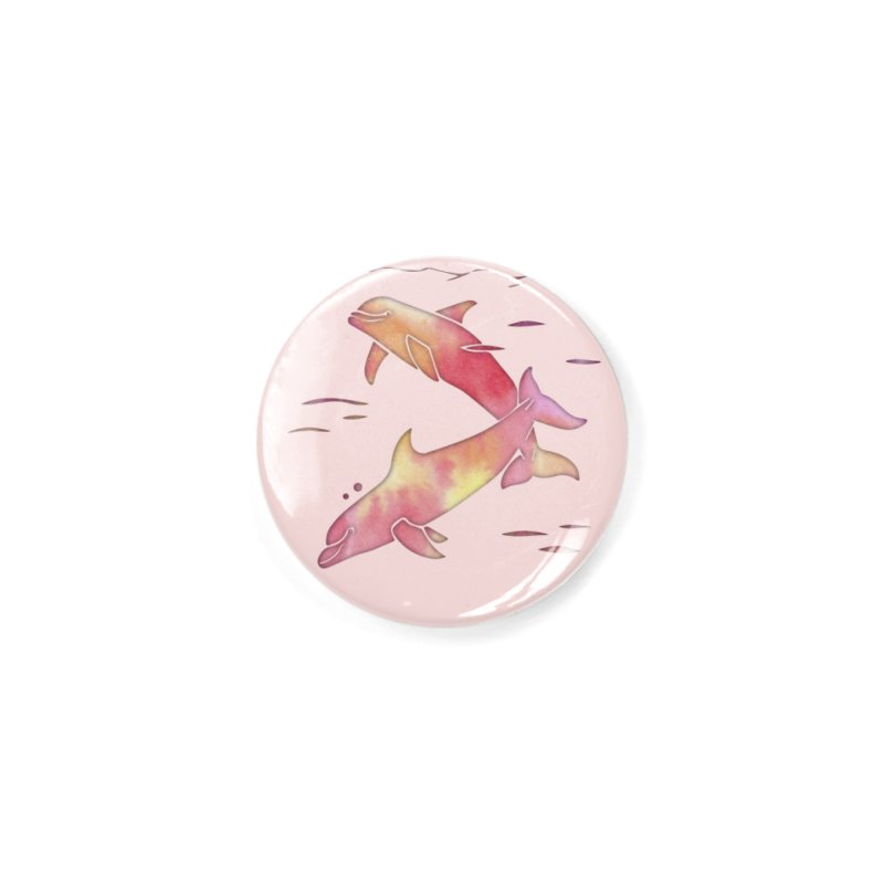 Peach Sea Dolphins Accessories Button by Ferine Fire