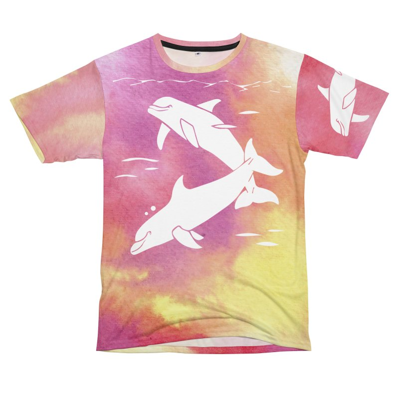 Peach Sea Dolphins Women's Unisex T-Shirt Cut & Sew by Ferine Fire