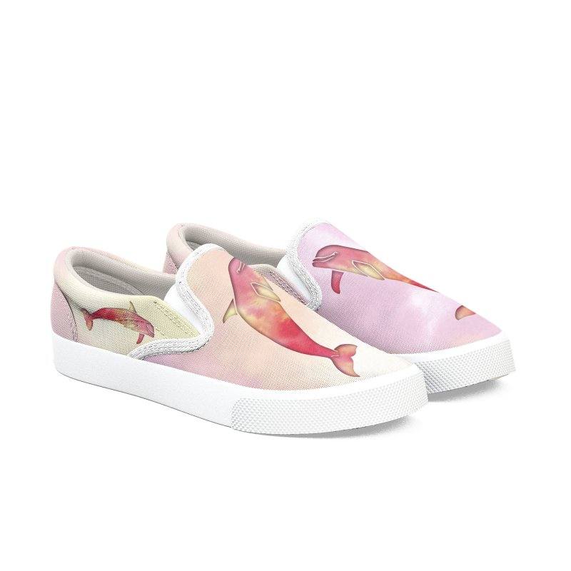 Peach Sea Dolphins Men's Slip-On Shoes by Ferine Fire