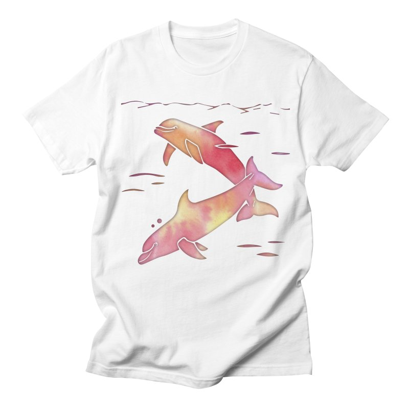 Peach Sea Dolphins Men's Regular T-Shirt by Ferine Fire