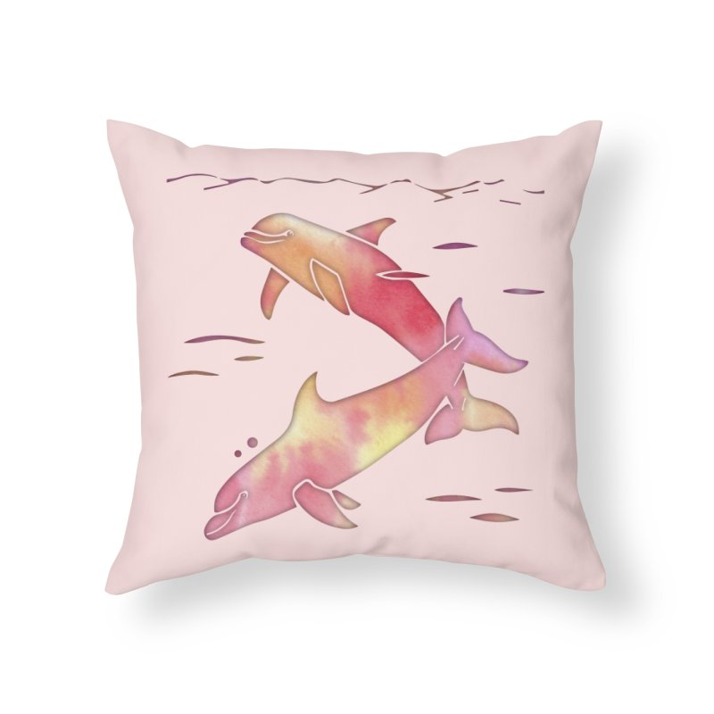 Peach Sea Dolphins in Throw Pillow by Ferine Fire