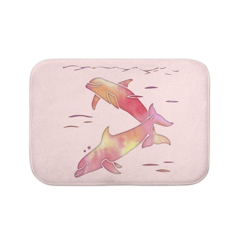 Peach Sea Dolphins Home Bath Mat by Ferine Fire