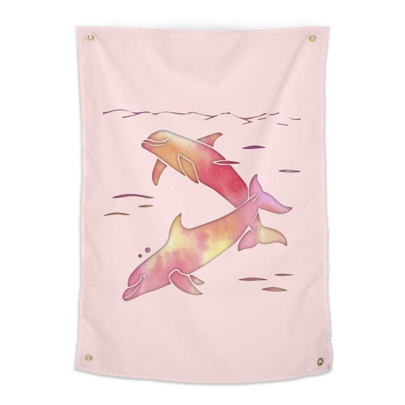 Peach Sea Dolphins Home Tapestry by Ferine Fire