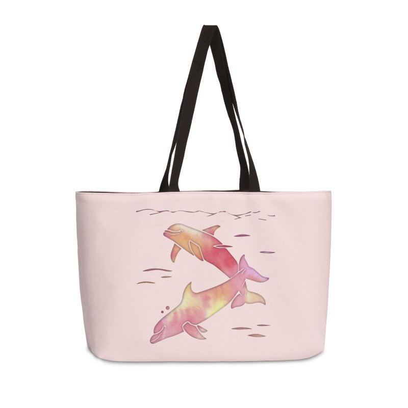Peach Sea Dolphins Accessories Weekender Bag Bag by Ferine Fire