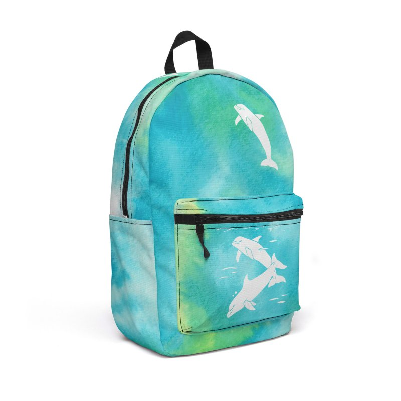 Aqua Sea Dolphins Accessories Backpack Bag by Ferine Fire