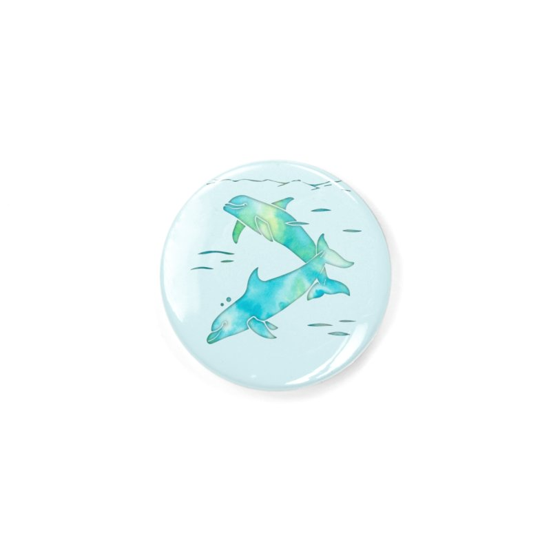 Aqua Sea Dolphins Accessories Button by Ferine Fire