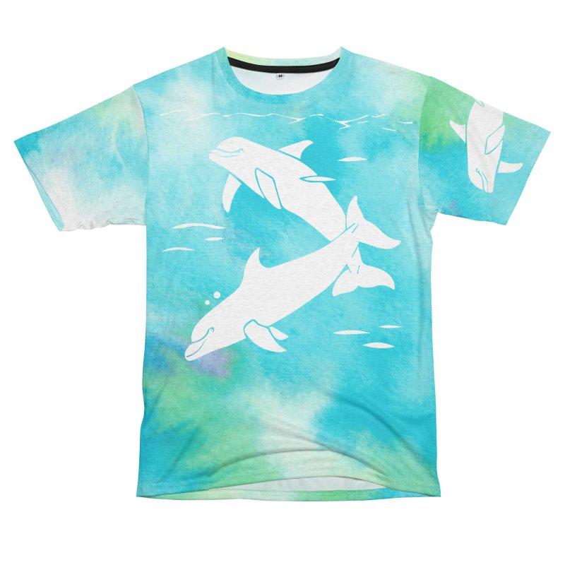 Aqua Sea Dolphins Women's Unisex French Terry T-Shirt Cut & Sew by Ferine Fire