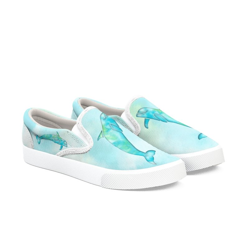 Aqua Sea Dolphins Men's Slip-On Shoes by Ferine Fire