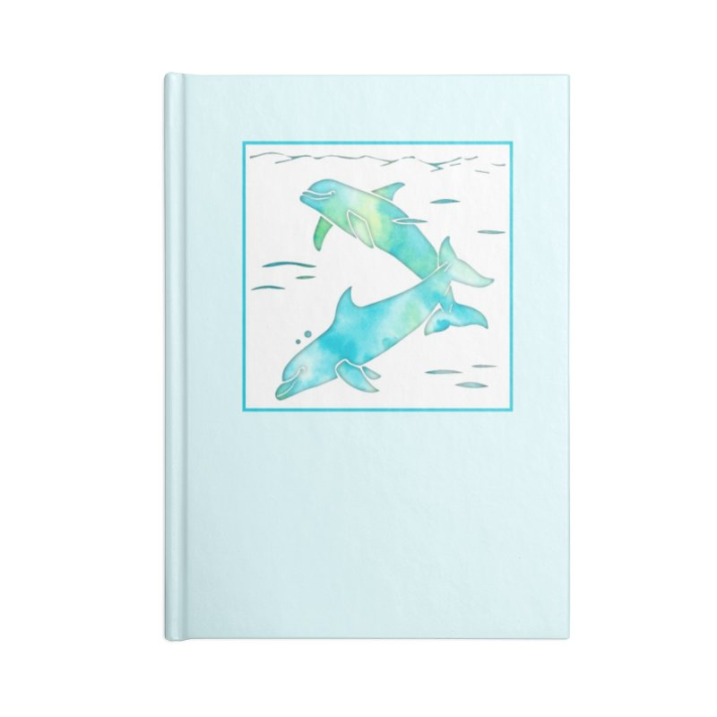 Aqua Sea Dolphins Accessories Blank Journal Notebook by Ferine Fire