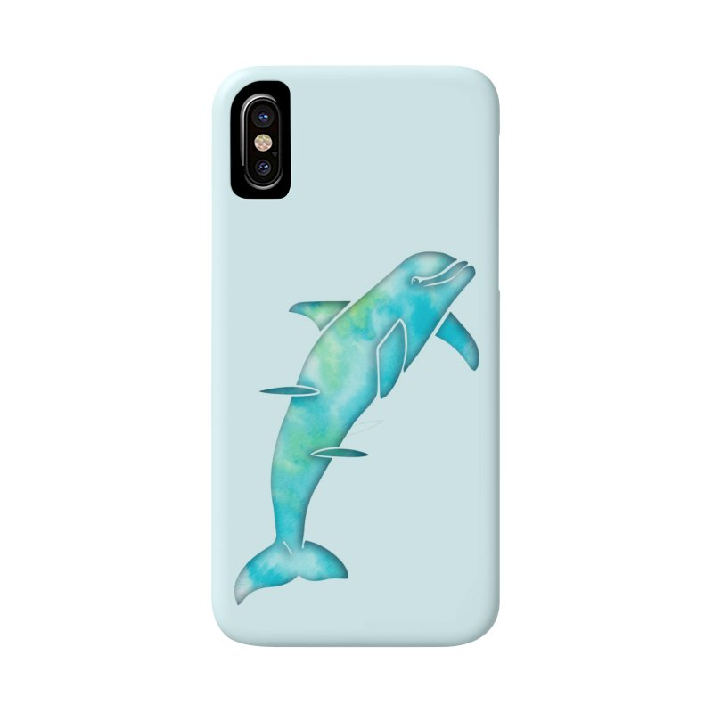 Aqua Sea Dolphins Accessories Phone Case by Ferine Fire