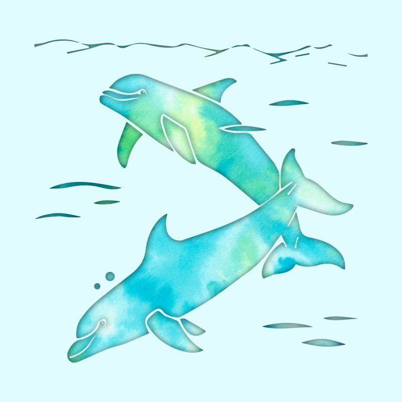 Aqua Sea Dolphins by Ferine Fire