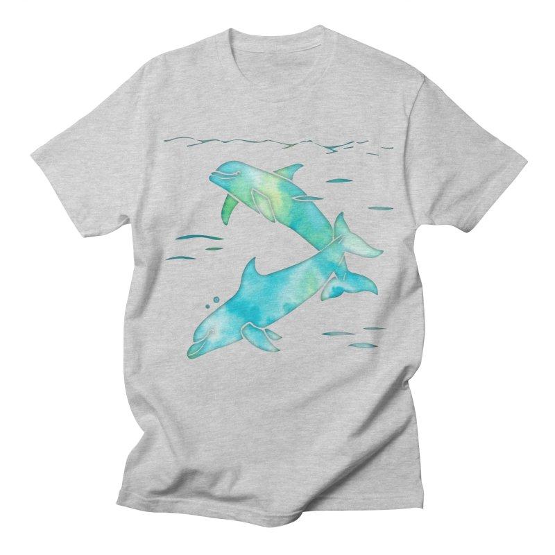 Aqua Sea Dolphins Men's Regular T-Shirt by Ferine Fire