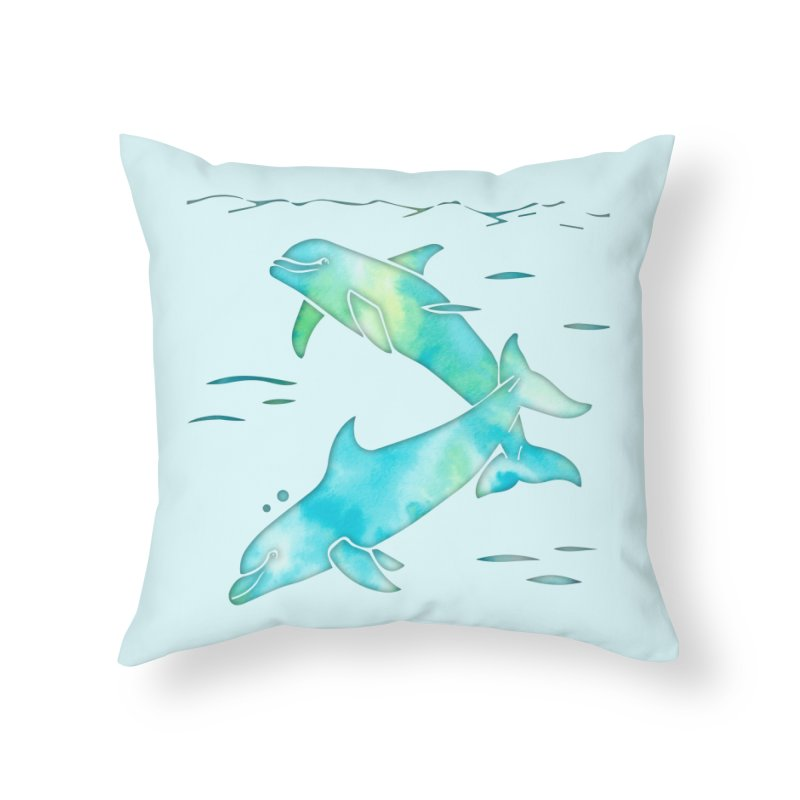 Aqua Sea Dolphins in Throw Pillow by Ferine Fire