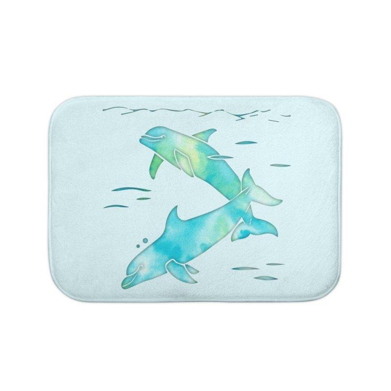 Aqua Sea Dolphins Home Bath Mat by Ferine Fire