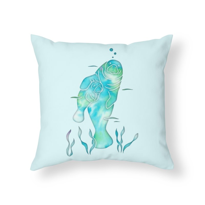 Aqua River Manatees in Throw Pillow by Ferine Fire