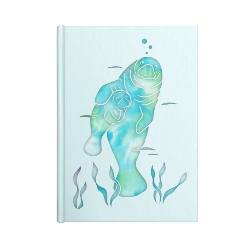 Aqua River Manatees Accessories Blank Journal Notebook by Ferine Fire