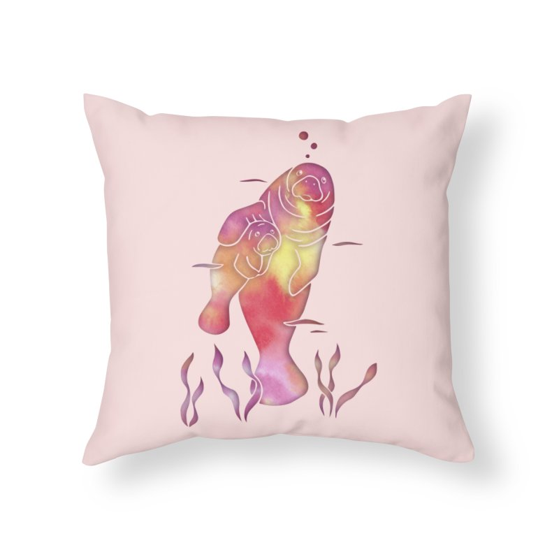 Peach River Manatees in Throw Pillow by Ferine Fire