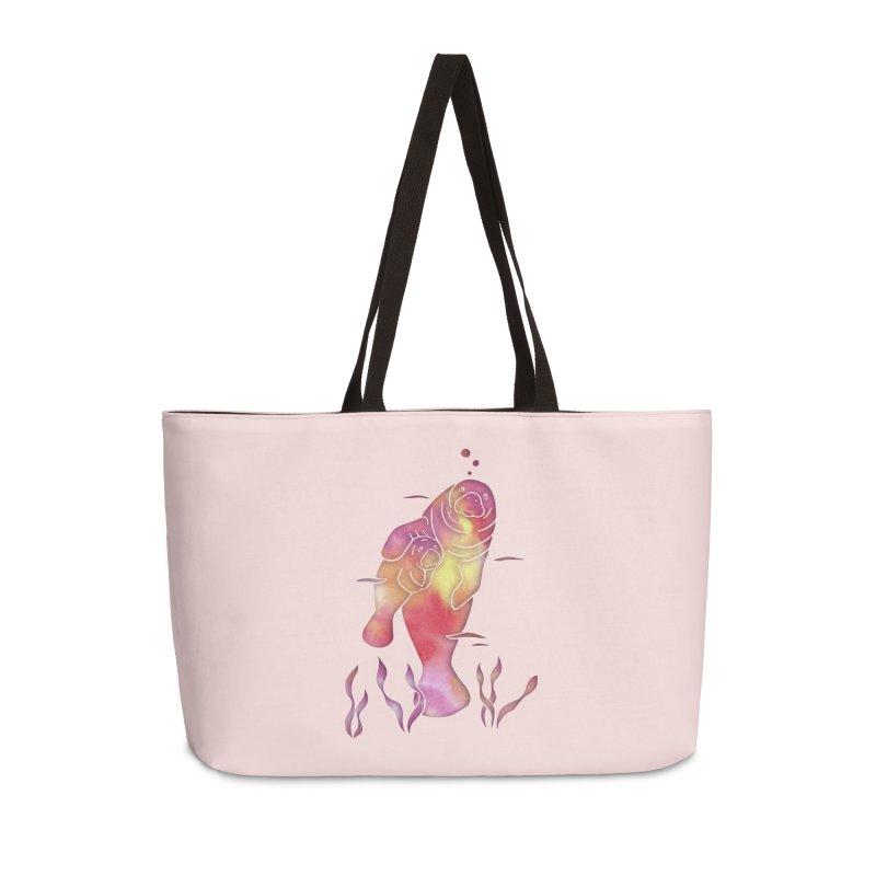 Peach River Manatees Accessories Weekender Bag Bag by Ferine Fire