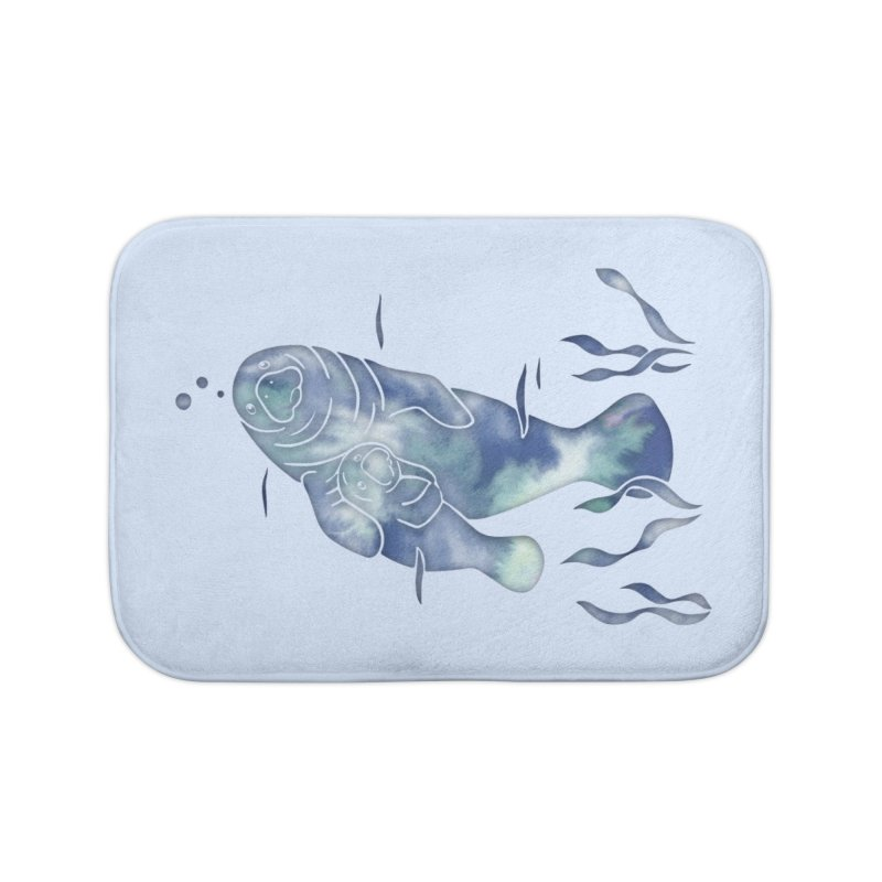 Blue River Manatees Home Bath Mat by Ferine Fire