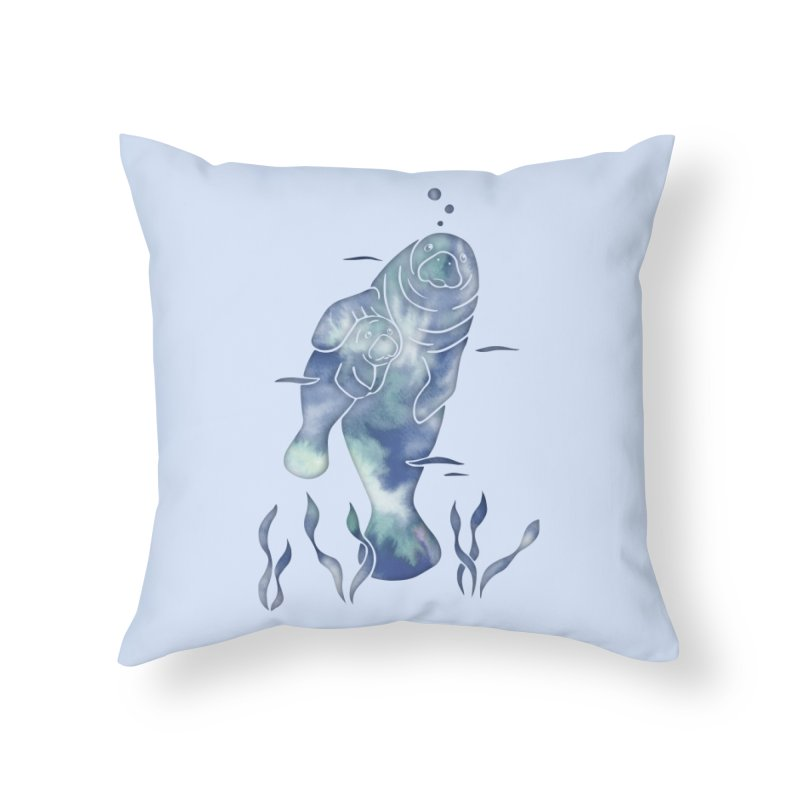 Blue River Manatees in Throw Pillow by Ferine Fire