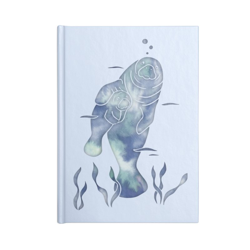 Blue River Manatees Accessories Lined Journal Notebook by Ferine Fire