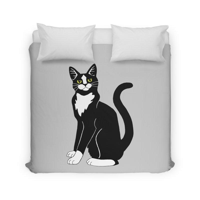 Tuxedo Cat Home Duvet by Ferine Fire