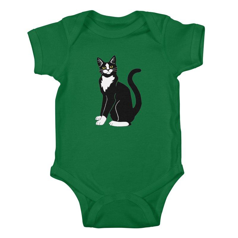 Tuxedo Cat Kids Baby Bodysuit by Ferine Fire
