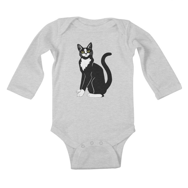 Tuxedo Cat Kids Baby Longsleeve Bodysuit by Ferine Fire