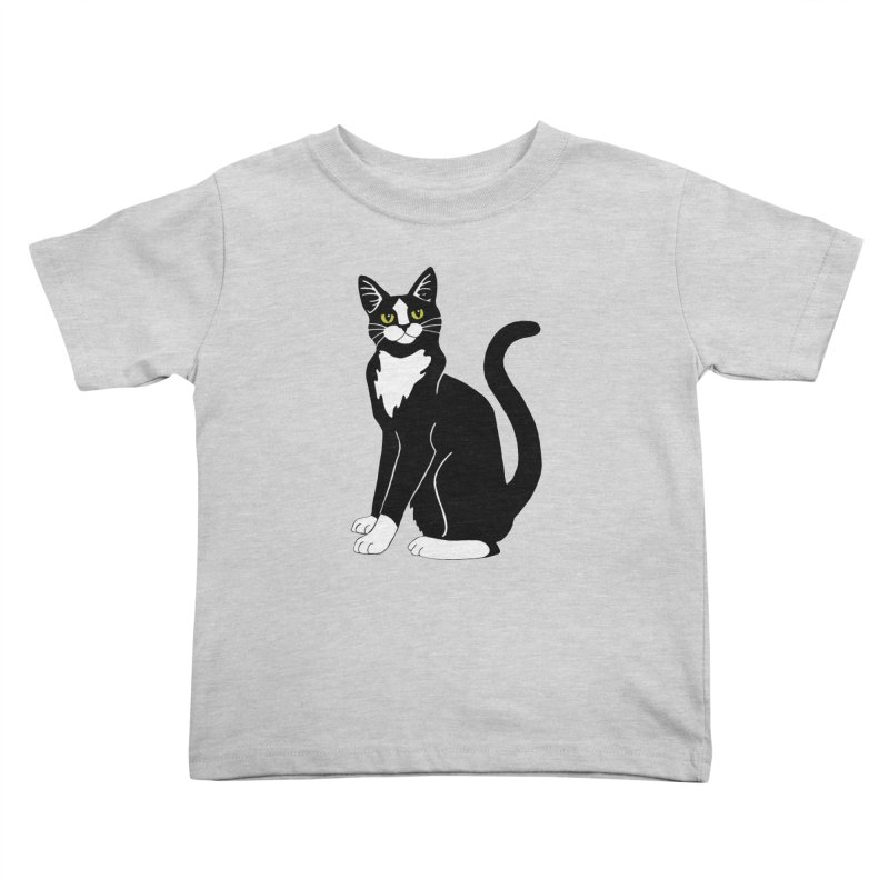 Tuxedo Cat Kids Toddler T-Shirt by Ferine Fire