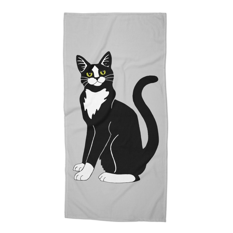 Tuxedo Cat Accessories Beach Towel by Ferine Fire