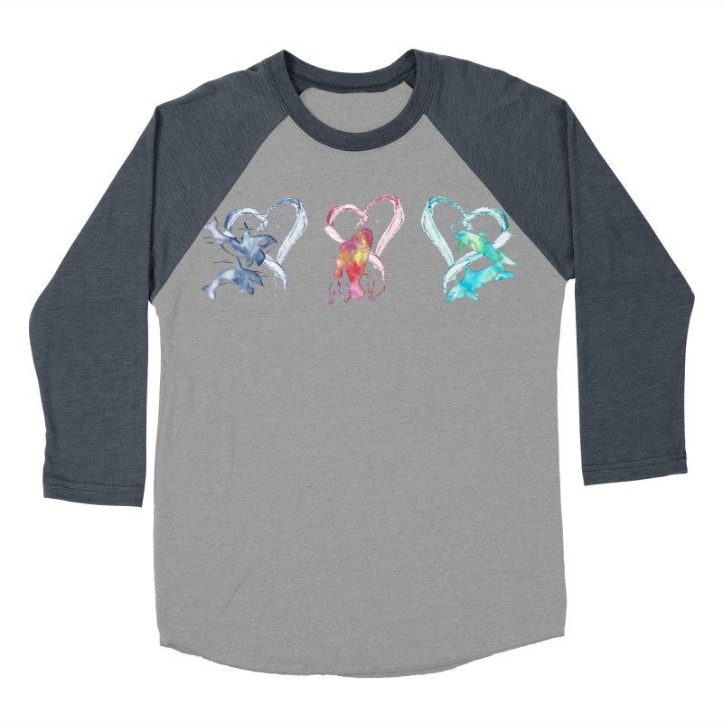 Trio D'Amour de Mer Men's Baseball Triblend Longsleeve T-Shirt by Ferine Fire