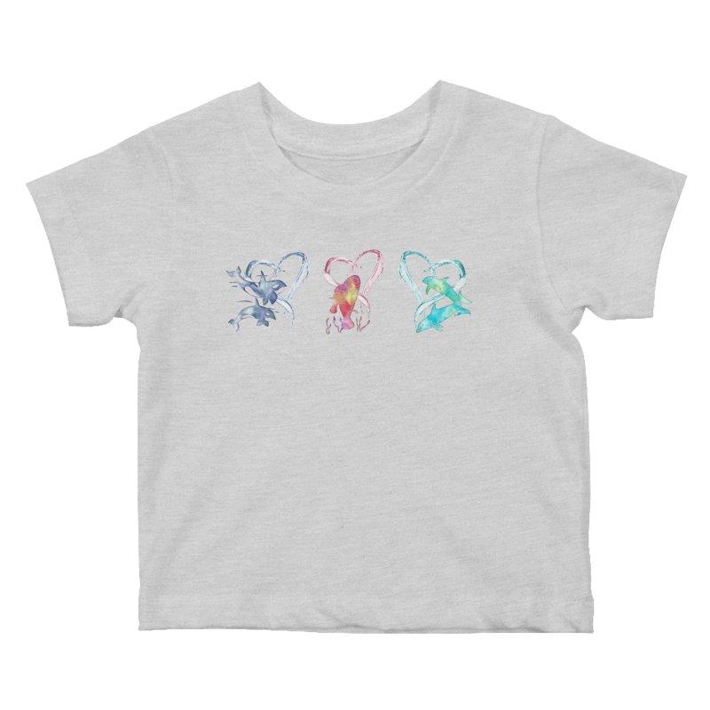 Trio D'Amour de Mer Kids Baby T-Shirt by Ferine Fire