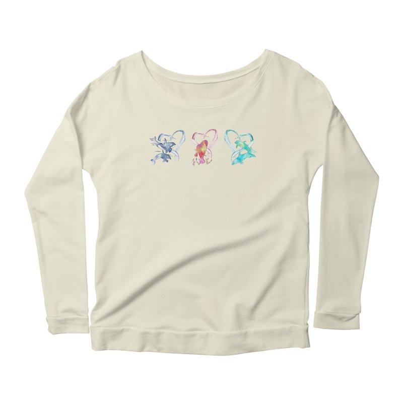 Trio D'Amour de Mer Women's Scoop Neck Longsleeve T-Shirt by Ferine Fire