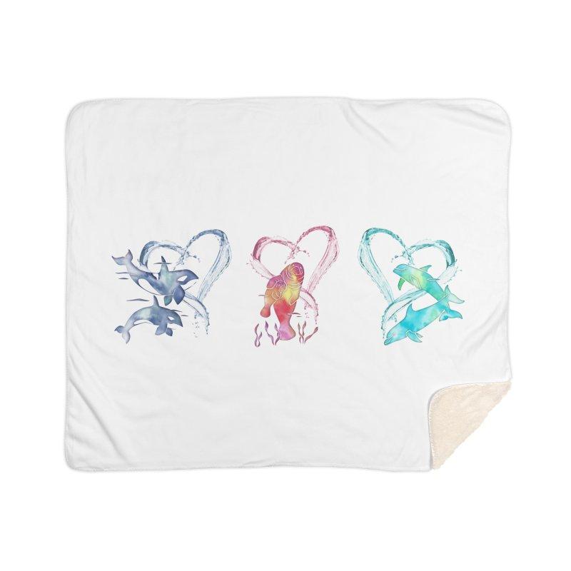 Trio D'Amour de Mer Home Sherpa Blanket Blanket by Ferine Fire