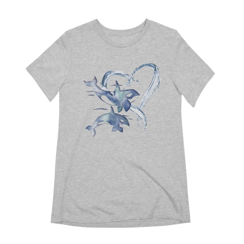 I Love Orca Whales Women's Extra Soft T-Shirt by Ferine Fire