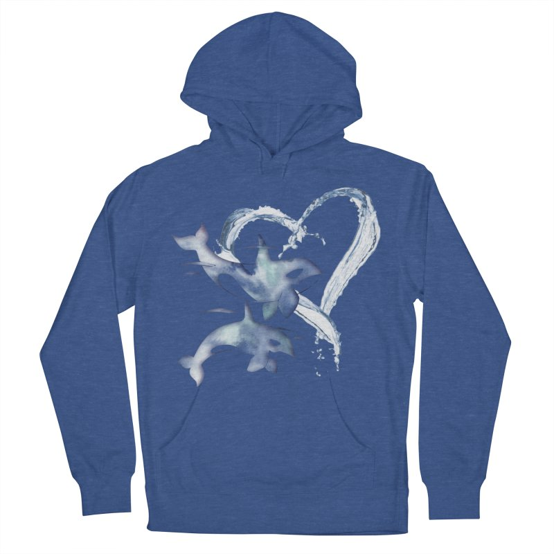 I Love Orca Whales Women's French Terry Pullover Hoody by Ferine Fire