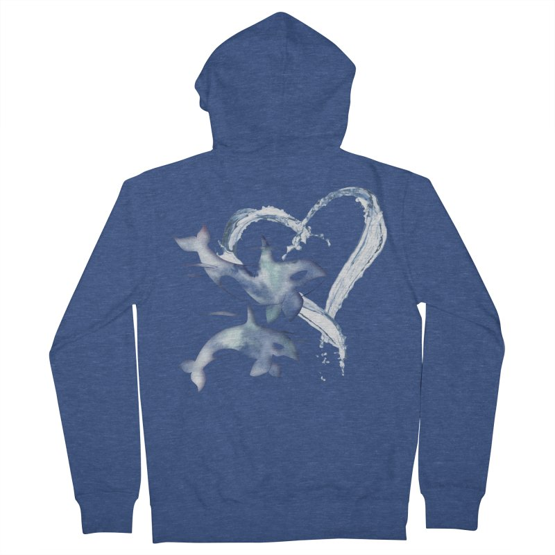 I Love Orca Whales Men's French Terry Zip-Up Hoody by Ferine Fire