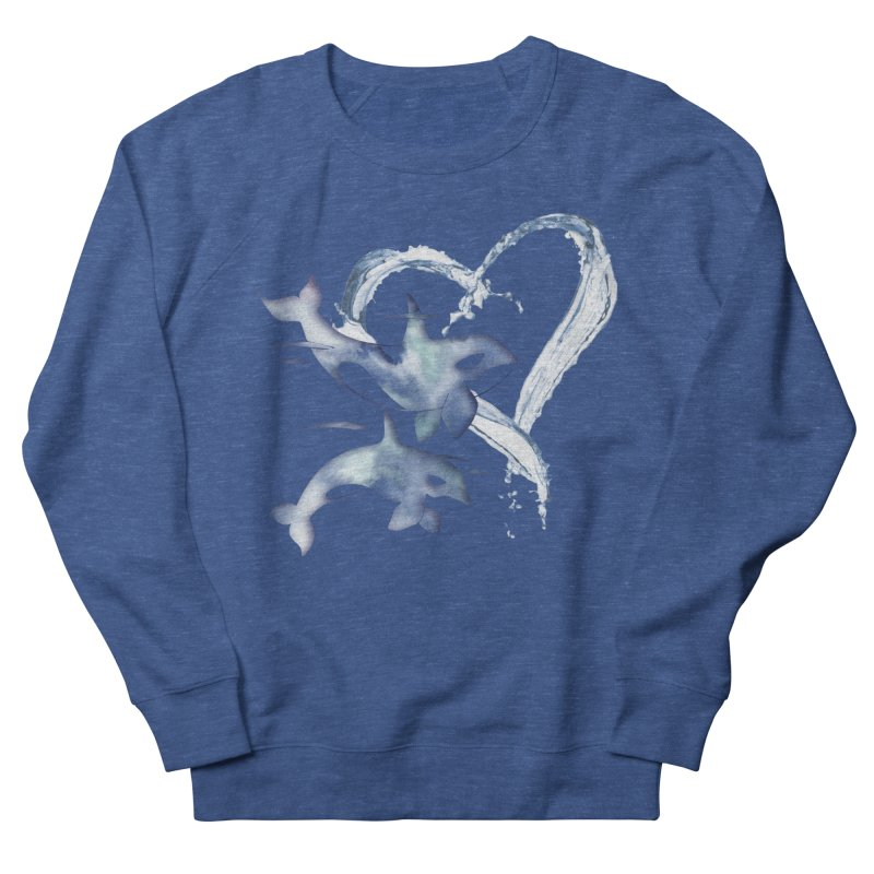 I Love Orca Whales Women's French Terry Sweatshirt by Ferine Fire