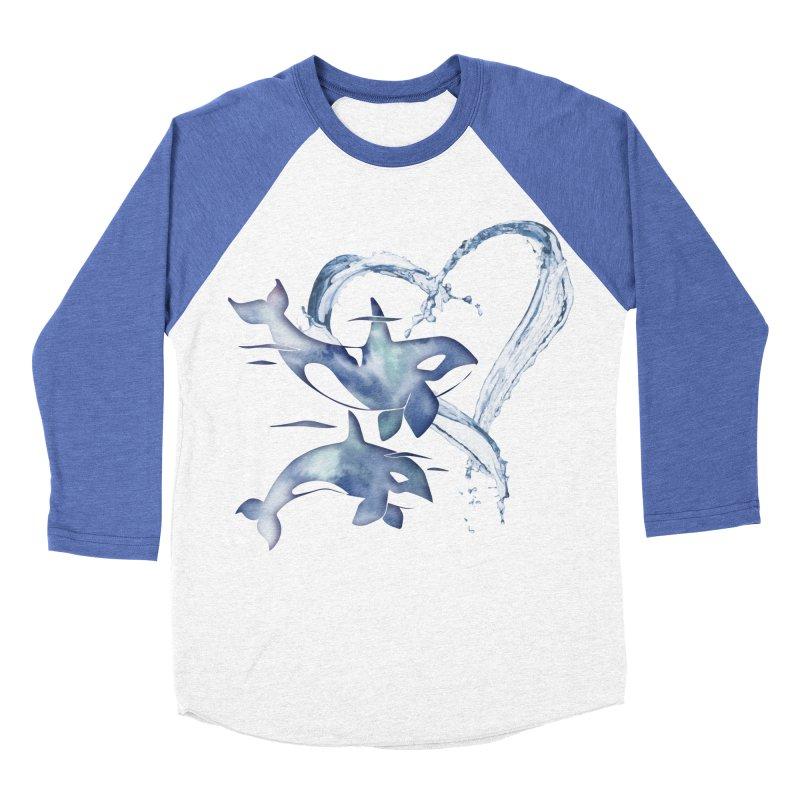 I Love Orca Whales Men's Baseball Triblend Longsleeve T-Shirt by Ferine Fire