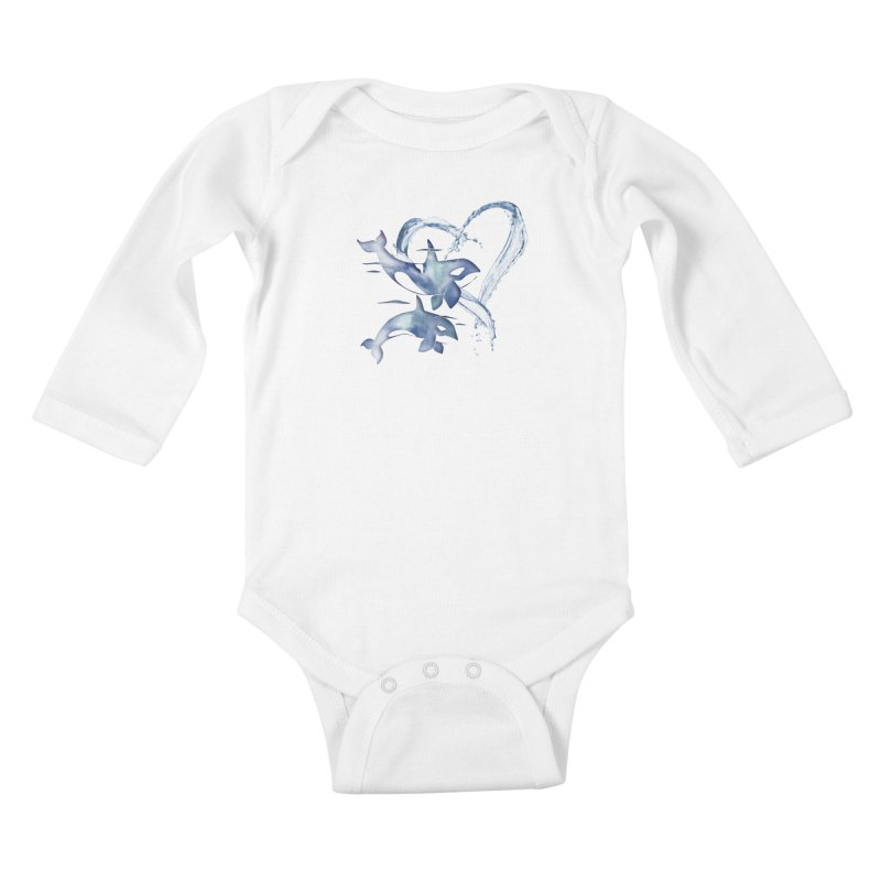 I Love Orca Whales Kids Baby Longsleeve Bodysuit by Ferine Fire