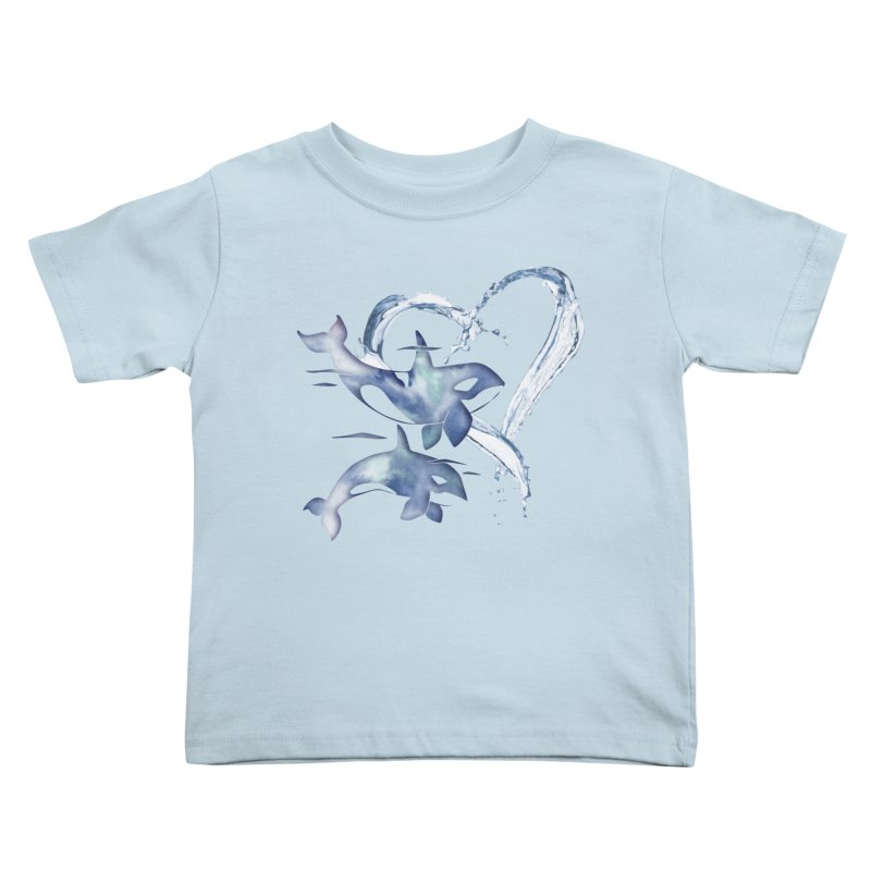 I Love Orca Whales Kids Toddler T-Shirt by Ferine Fire