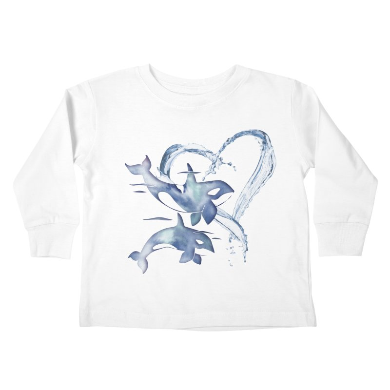 I Love Orca Whales Kids Toddler Longsleeve T-Shirt by Ferine Fire