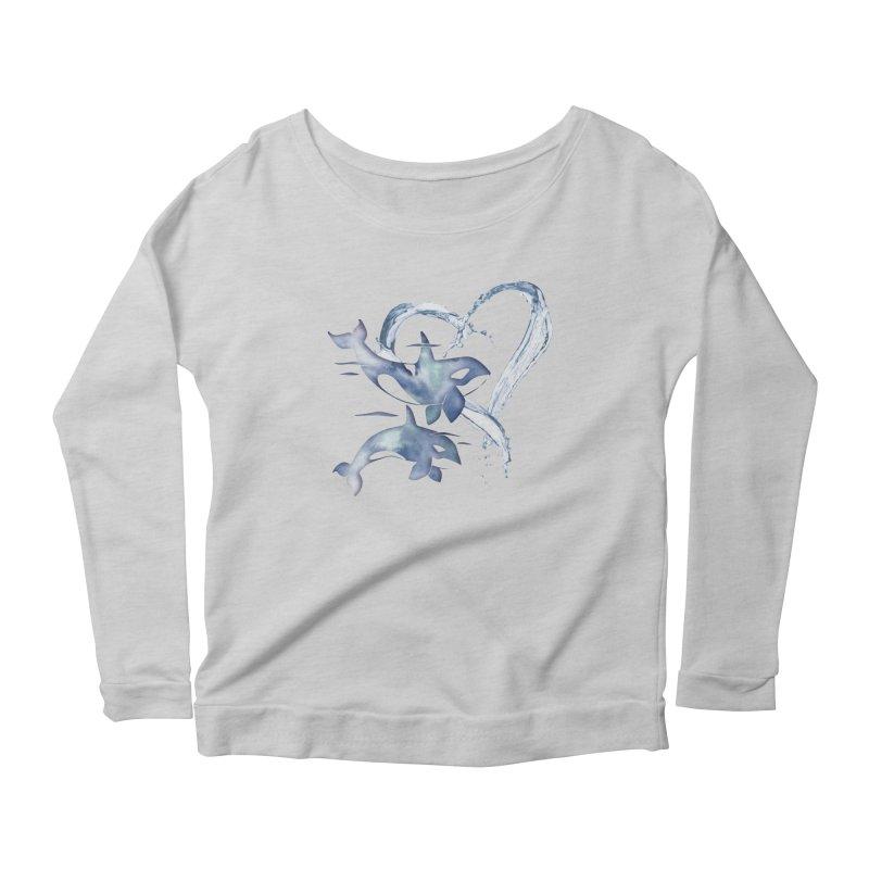 I Love Orca Whales Women's Scoop Neck Longsleeve T-Shirt by Ferine Fire