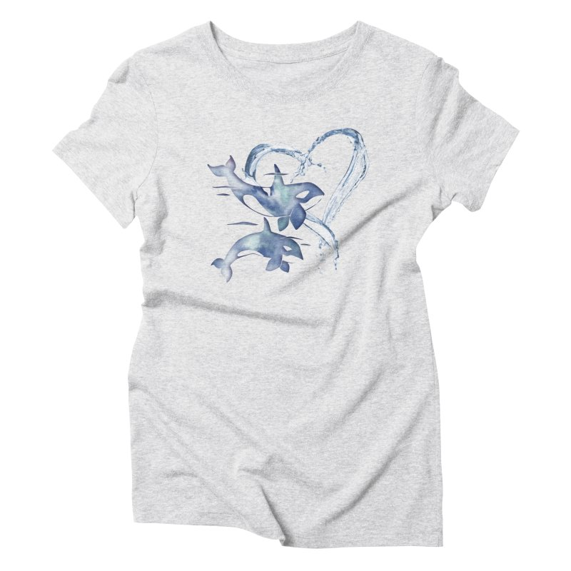 I Love Orca Whales Women's Triblend T-Shirt by Ferine Fire
