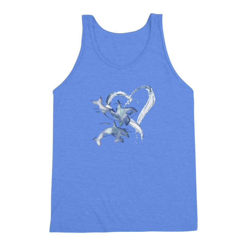 I Love Orca Whales Men's Triblend Tank by Ferine Fire
