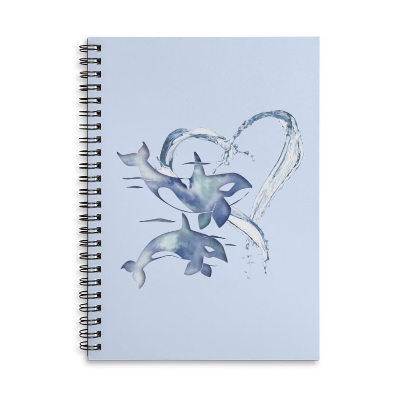 I Love Orca Whales Accessories Lined Spiral Notebook by Ferine Fire