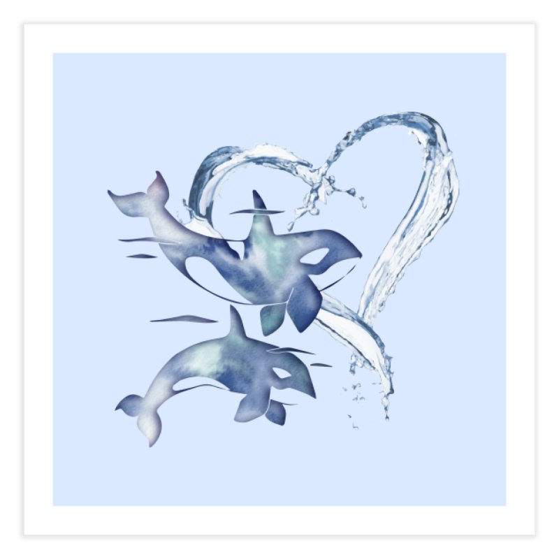 I Love Orca Whales Home Fine Art Print by Ferine Fire
