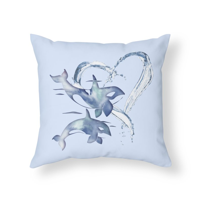 I Love Orca Whales Home Throw Pillow by Ferine Fire