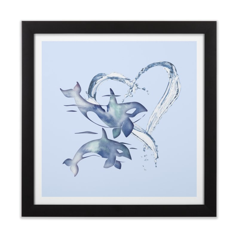 I Love Orca Whales Home Framed Fine Art Print by Ferine Fire